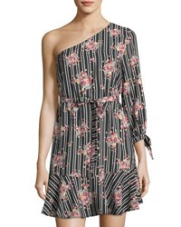 Collective Concepts One Shoulder Print Dress Black