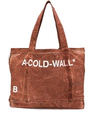 A Cold Wall Distressed Printed Tote Brown