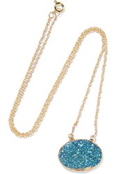 Dara Ettinger Gold Plated Stone Necklace Blue