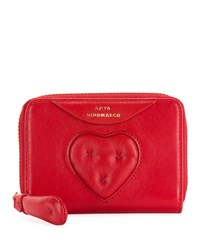Anya Hindmarch Small Chubby Heart Zip Around Wallet Bright Red