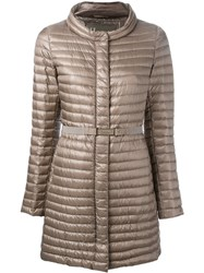 Herno Belted Padded Jacket Brown