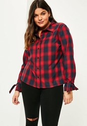 Missguided Plus Size Red Checked Tie Cuff Shirt