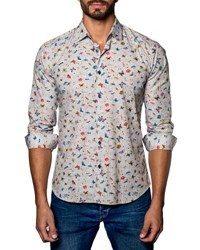 Jared Lang Butterfly Print Sport Shirt Tan Butterfly