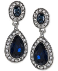 Carolee Silver Tone Blue Stone Pave Drop Earrings