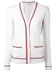 Thom Browne Striped V Neck Cardigan Women Wool 40 White