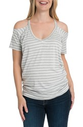 Bun Maternity Bliss Cold Shoulder Nursing Tee Gray And White Stripe