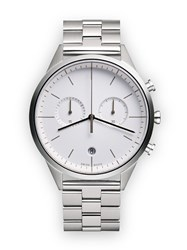 Uniform Wares C39 Women's Chronograph Watch In Polished Steel With Polished And White