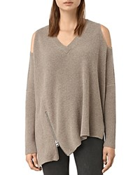 Allsaints Able Cold Shoulder Ribbed Sweater Lunar Gray