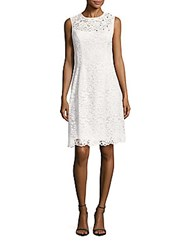 Teri Jon Solid Lace Dress White