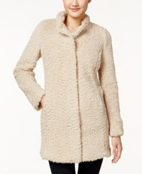 Kenneth Cole Faux Fur Walker Coat Cream