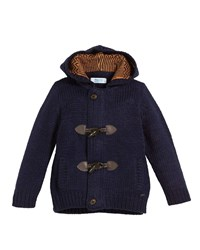 Mayoral Hooded Knit Toggle Front Cardigan Sweater Blue