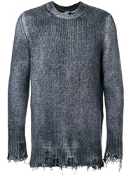 Avant Toi Faded Round Neck Jumper Blue