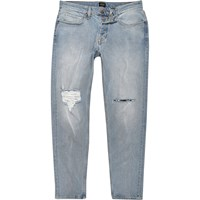 River Island Mens Light Blue Ripped Slim Tapered Dylan Jeans