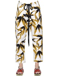 Marni Leaf Printed Cotton And Linen Trousers