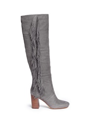 Sam Edelman 'Taylan' Fringe Suede Knee High Boots Grey