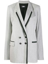 Karl Lagerfeld Tailored Double Breasted Jacket Grey