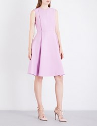 Valentino Box Pleat Fit And Flare Wool And Silk Blend Dress Cherry Blossom