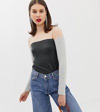 River Island Jumper With High Neck In Colour Block Grey