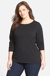 Sejour Plus Size Women's Forward Shoulder Tee Black