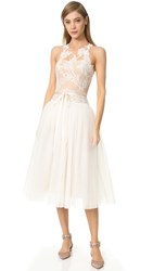 Monique Lhuillier Tea Length Gown Silk White Nude