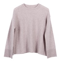 Ille De Cocos Merino Rib Swing Sweater Rose Grey Marl Pink Purple