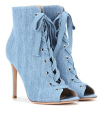Gianvito Rossi Marie Denim Peep Toe Ankle Boots Blue