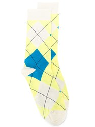 Pringle Of Scotland Reissued Classic Argyle Socks Yellow