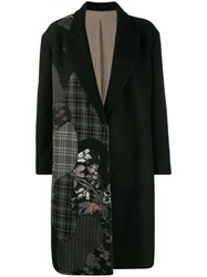 Antonio Marras Asymmetric Print Midi Coat Black