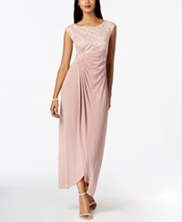 Connected Sequined Lace Draped Faux Wrap Gown New Nude