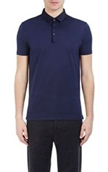 Lanvin Men's Grosgrain Collar Pique Polo Shirt Blue