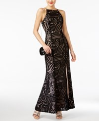 Trixxi Juniors' Sleeveless Sequined Gown Black