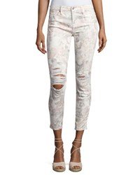 7 For All Mankind The Ankle Skinny Floral Print Jeans With Distressing White