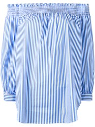 Polo Ralph Lauren Off Shoulders Striped Blouse Blue