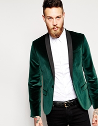 Noose And Monkey Velvet Blazer In Skinny Fit Bottlegreen