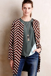 Eva Franco Chevron Car Coat Brown Motif