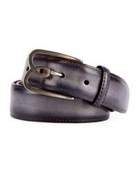 Berluti Metal Logo Leather Belt Black Gray