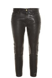 Frame Denim Le Garcon Leather Trousers Black