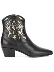 Saint Laurent Rock 40 Cowboy Ankle Boots Black