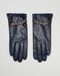 Barney's Originals Real Leather Gloves With Chain Detail Navy