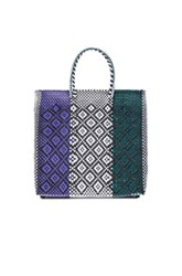 Truss Medium Triptych Tote In White Checkered And Plaid Black Purple Green