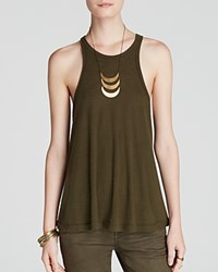 Free People Tank Rayon Slub Long Beach Dark Olive