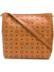 Mcm All Over Logo Tote Bag Brown