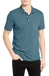 Men's 1901 Slim Fit Heathered Jersey Pocket Polo Teal Ocean
