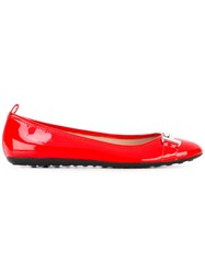 Tod's Ballerina Flats Women Leather Rubber 37 Red