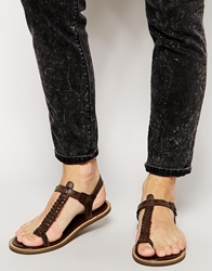 Asos Sandals With Woven Leather Strap Brown