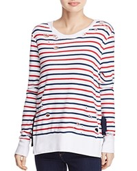 Pam And Gela Stripe Print Fleece Pullover Red Blue