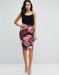 Jessica Wright Pencil Dress With Floral Skirt Black