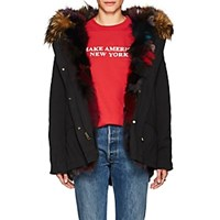 Barneys New York Fur Trimmed And Lined Cotton Parka Black