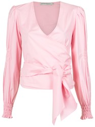 Martha Medeiros Kenia Wrap Style Shirt Pink And Purple