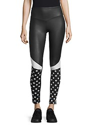 Electric Yoga Star Print Leggings Black White